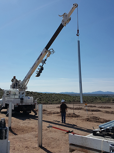 Construction has begun on a Panaca based community solar project that received funding from GOE. Once completed, the project will have an annual generating capacity of 90 kilowatts. (Image provided by Lincoln County Power District No. 1)