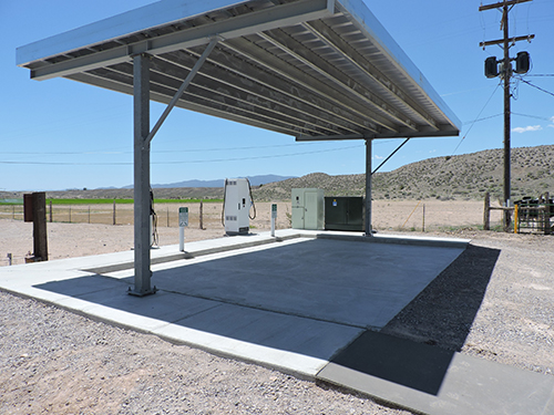 The Panaca charging station in eastern Nevada is located within easy driving distance of Cathedral Gorge and other state parks.